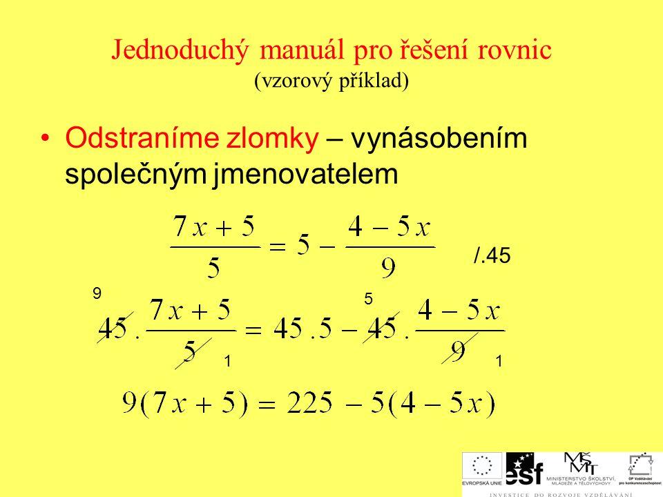 Jednoduchý manuál pro řešení rovnic (vzorový příklad)