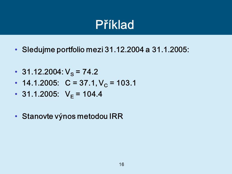 Příklad Sledujme portfolio mezi 31.12.2004 a 31.1.2005: