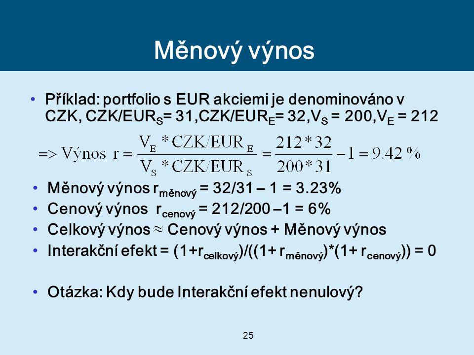 Měnový výnos Příklad: portfolio s EUR akciemi je denominováno v CZK, CZK/EURS= 31,CZK/EURE= 32,VS = 200,VE = 212.