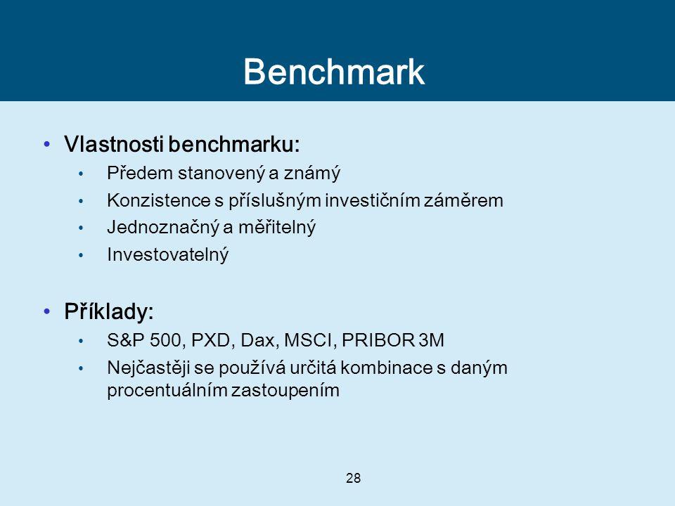 Benchmark Vlastnosti benchmarku: Příklady: Předem stanovený a známý