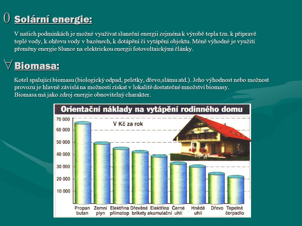 Solární energie: Biomasa: