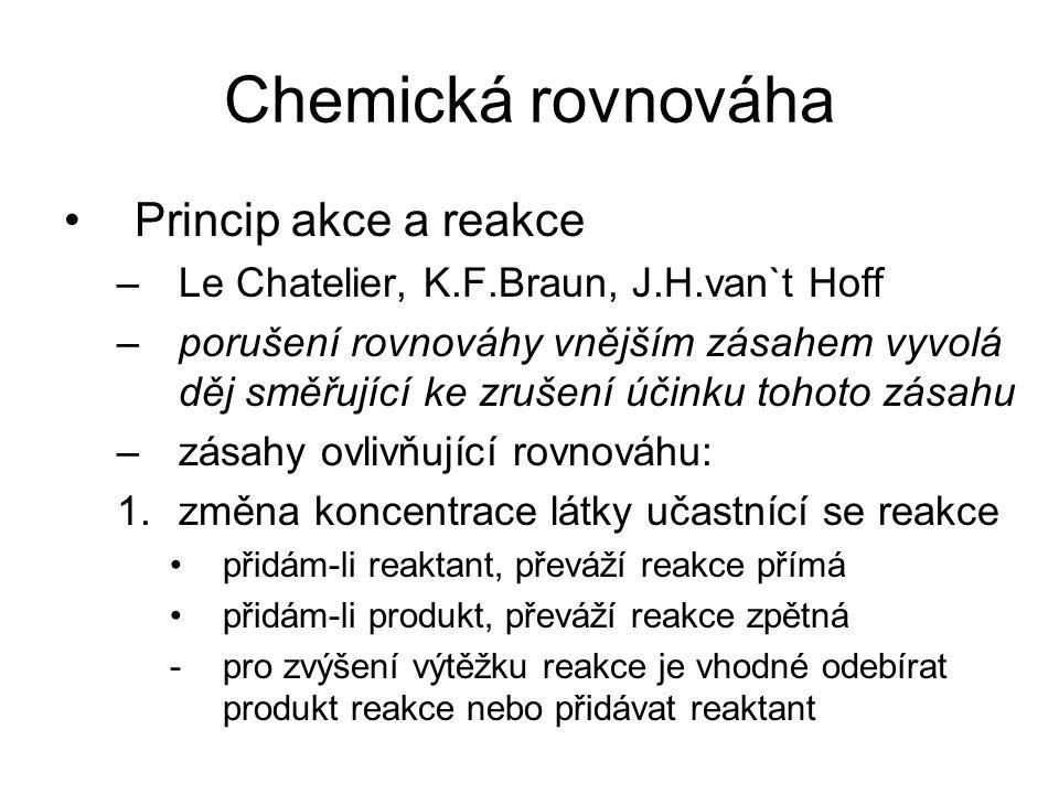 Chemická rovnováha Princip akce a reakce