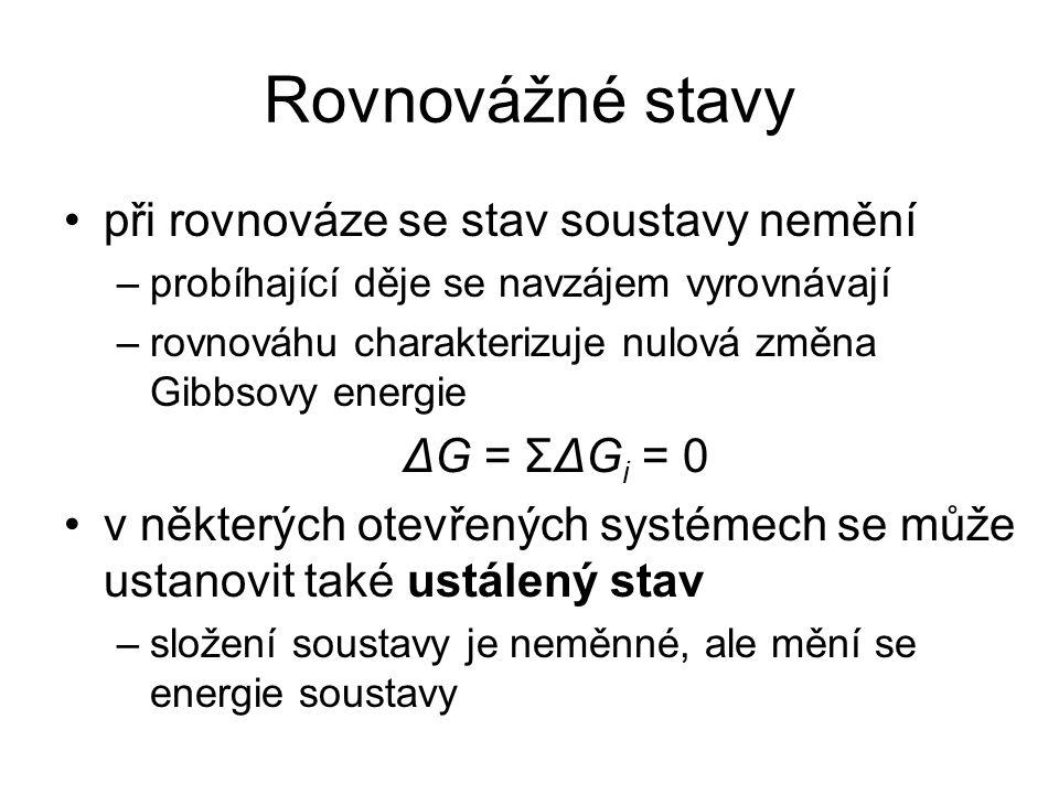 Rovnovážné stavy při rovnováze se stav soustavy nemění ΔG = ΣΔGi = 0