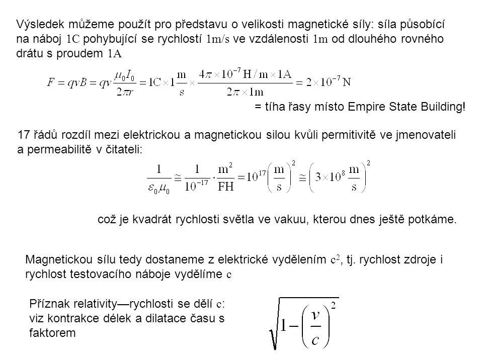 Výsledek můžeme použít pro představu o velikosti magnetické síly: síla působící na náboj 1C pohybující se rychlostí 1m/s ve vzdálenosti 1m od dlouhého rovného drátu s proudem 1A