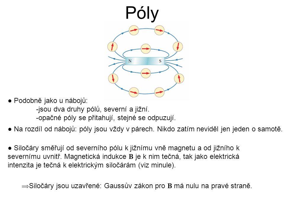 Póly ● Podobně jako u nábojů: -jsou dva druhy pólů, severní a jižní.
