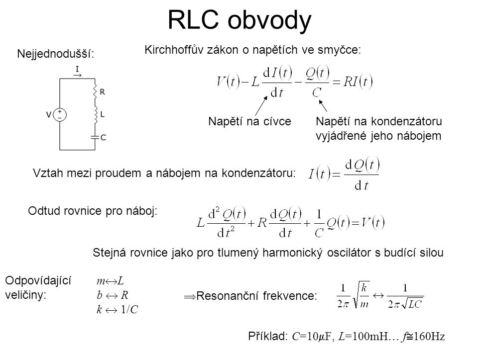 RLC obvody Kirchhoffův zákon o napětích ve smyčce: Nejjednodušší: