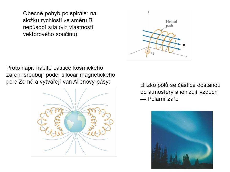 Obecně pohyb po spirále: na složku rychlosti ve směru B nepůsobí síla (viz vlastnosti vektorového součinu).