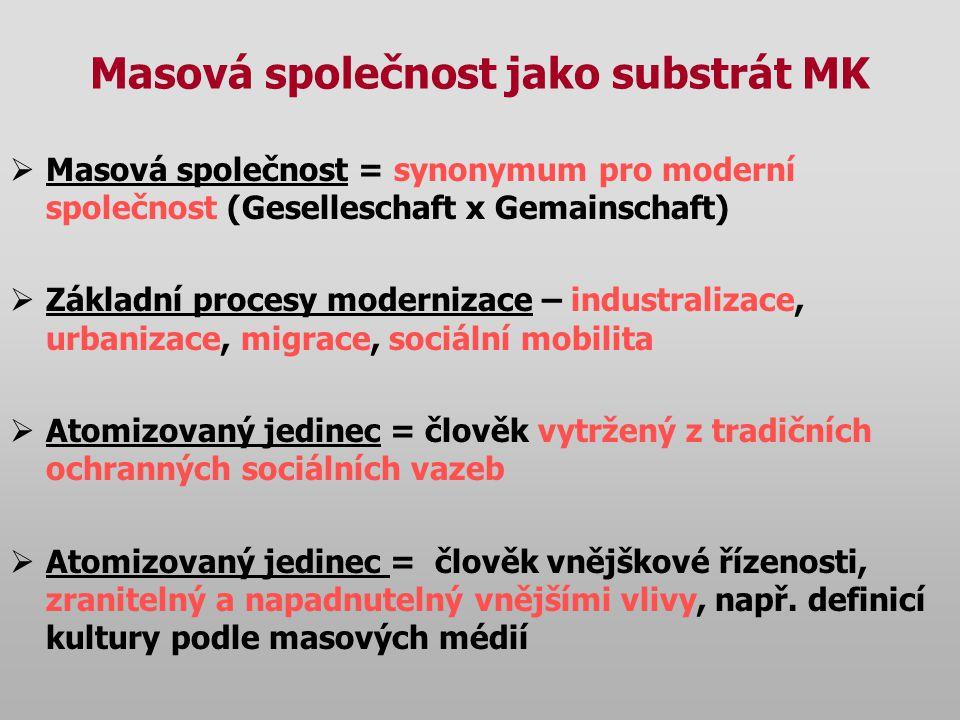 Masová společnost jako substrát MK
