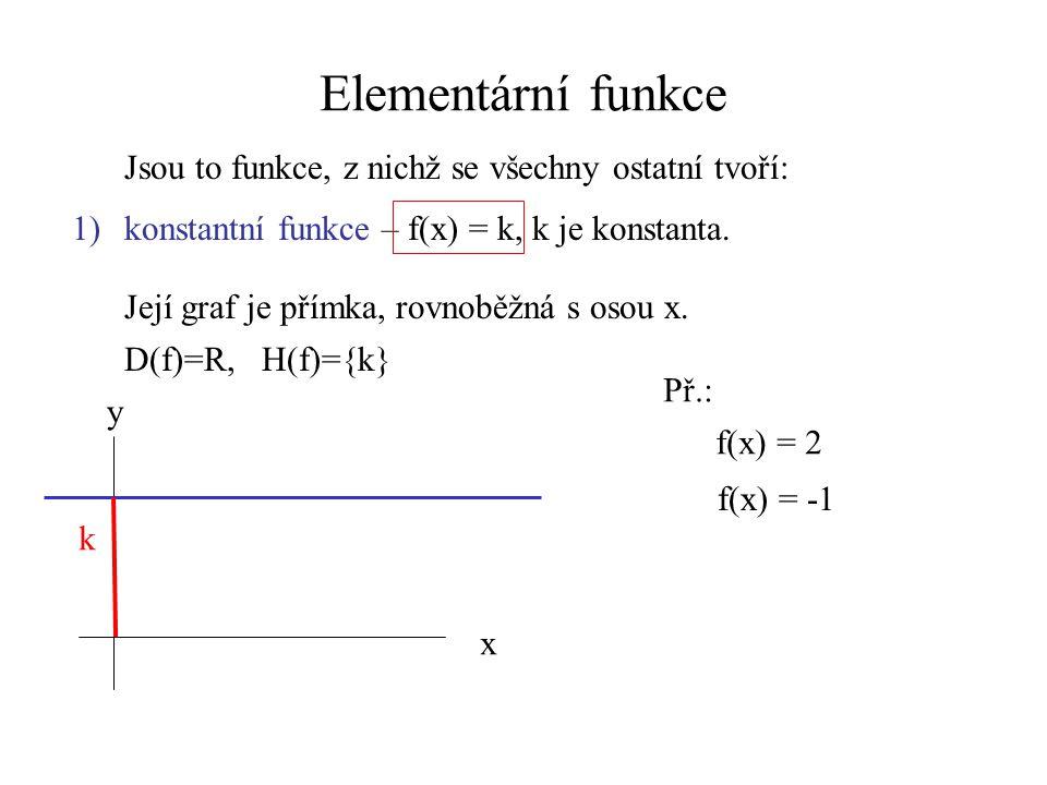 Elementární funkce Jsou to funkce, z nichž se všechny ostatní tvoří: