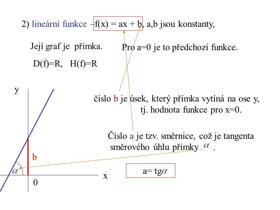 2) lineární funkce –f(x) = ax + b, a,b jsou konstanty,