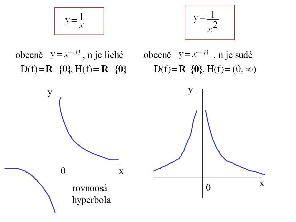 obecně , n je liché obecně , n je sudé y y x x rovnoosá hyperbola