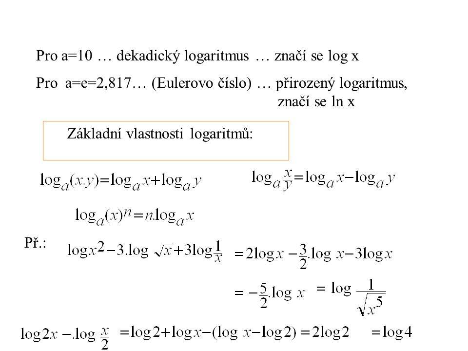 Pro a=10 … dekadický logaritmus … značí se log x