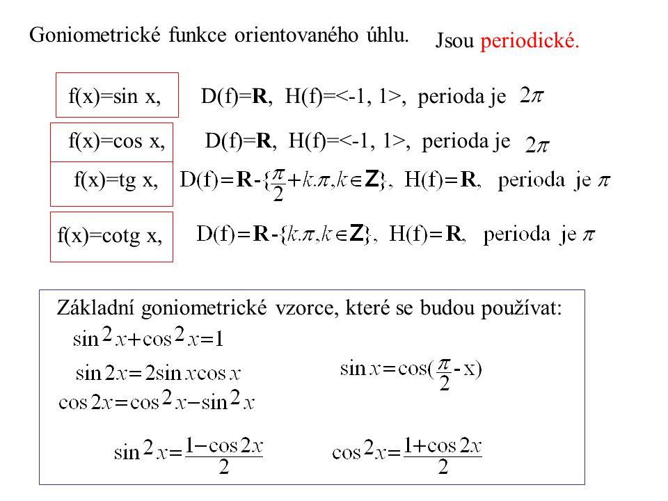 Goniometrické funkce orientovaného úhlu.