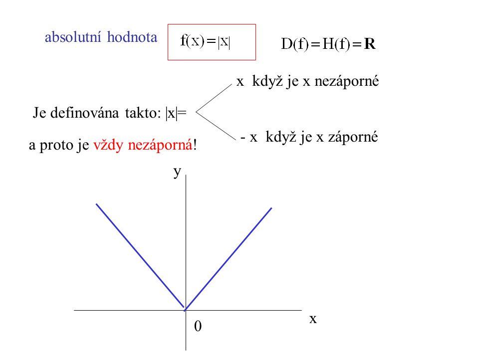 absolutní hodnota x když je x nezáporné. Je definována takto: |x|= - x když je x záporné. a proto je vždy nezáporná!