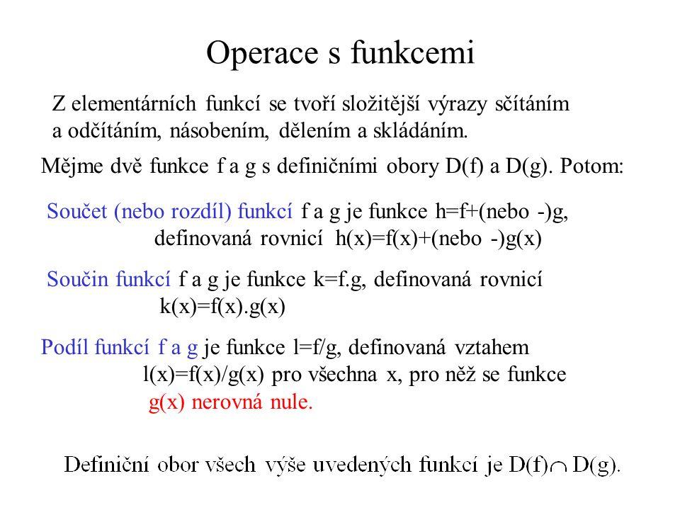 Operace s funkcemi Z elementárních funkcí se tvoří složitější výrazy sčítáním. a odčítáním, násobením, dělením a skládáním.
