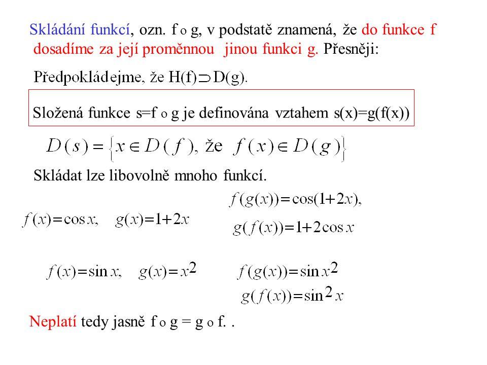 Skládání funkcí, ozn. f o g, v podstatě znamená, že do funkce f