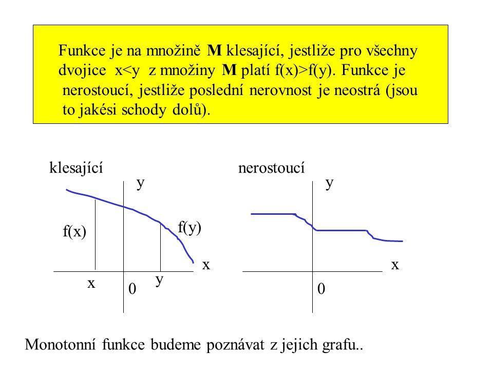 Funkce je na množině M klesající, jestliže pro všechny