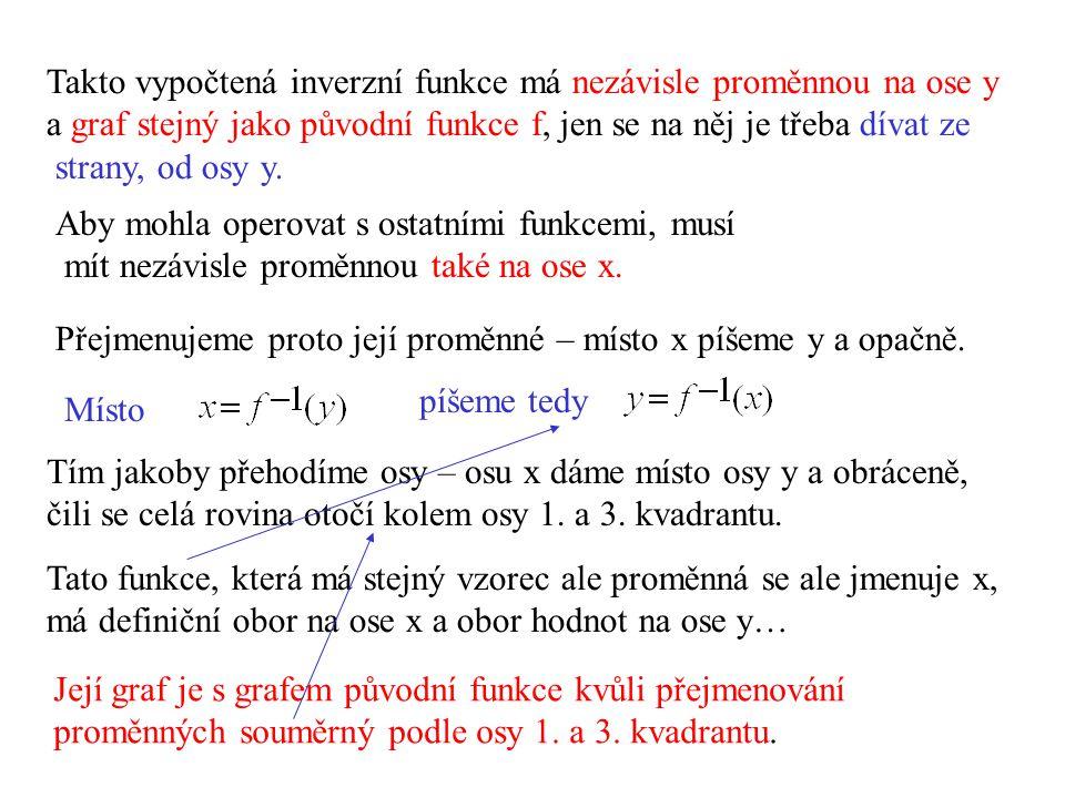 Takto vypočtená inverzní funkce má nezávisle proměnnou na ose y