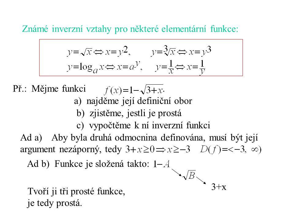 Známé inverzní vztahy pro některé elementární funkce: