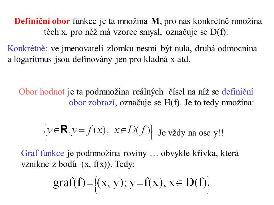 Definiční obor funkce je ta množina M, pro nás konkrétně množina