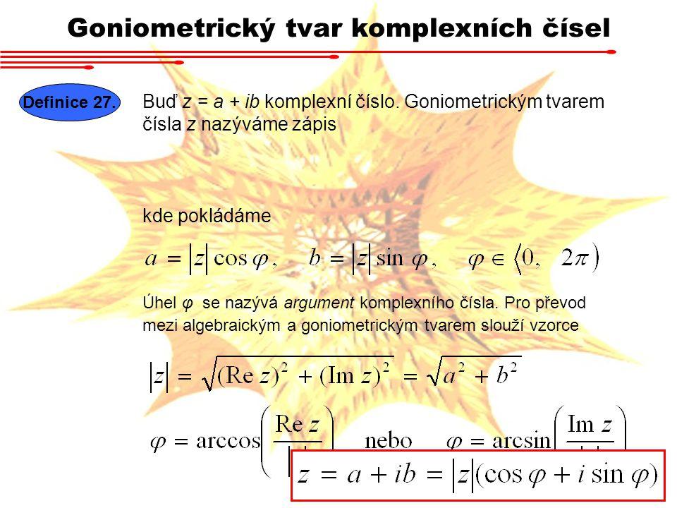 Goniometrický tvar komplexních čísel