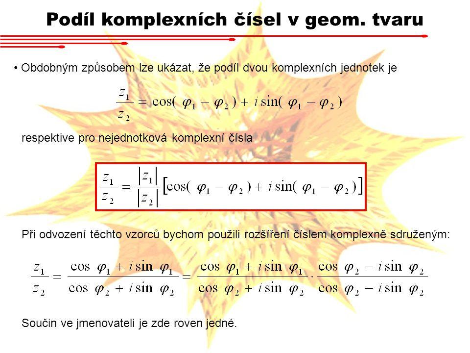 Podíl komplexních čísel v geom. tvaru