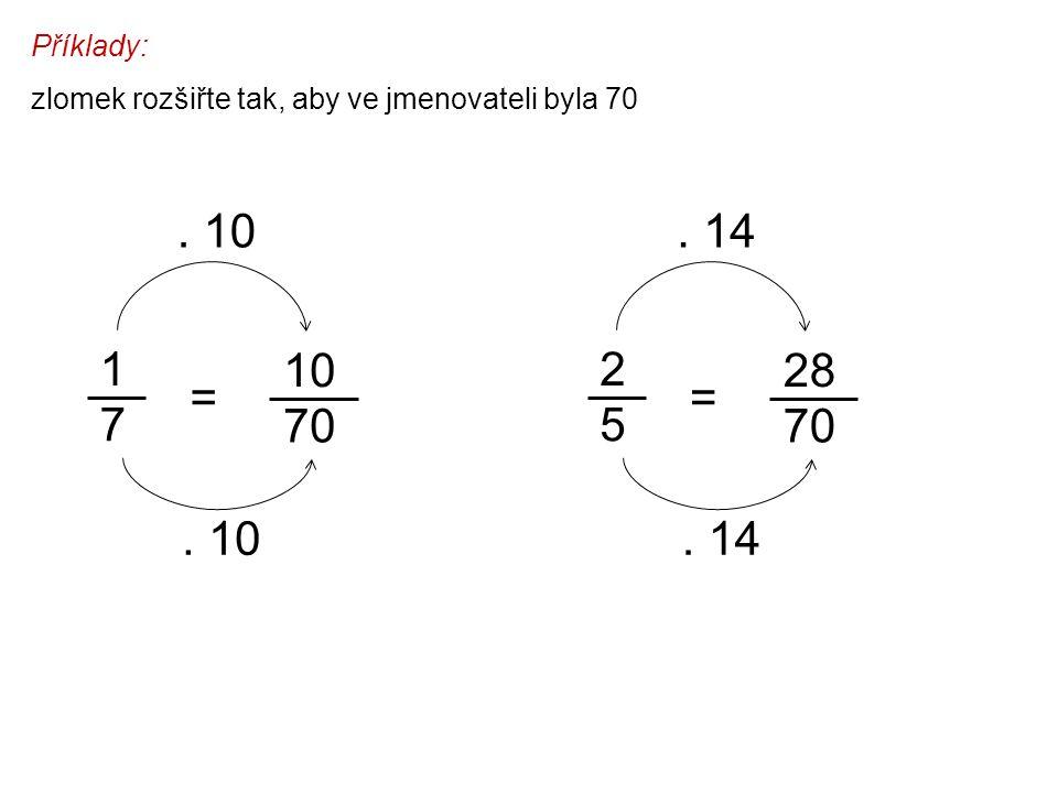 Příklady: zlomek rozšiřte tak, aby ve jmenovateli byla 70. . 10. . 14. 1. 7. 10. 2. 5. 28. =