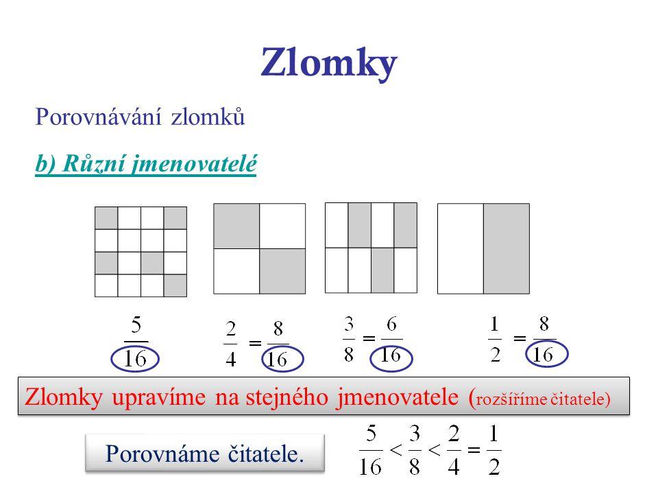 Zlomky Porovnávání zlomků b) Různí jmenovatelé