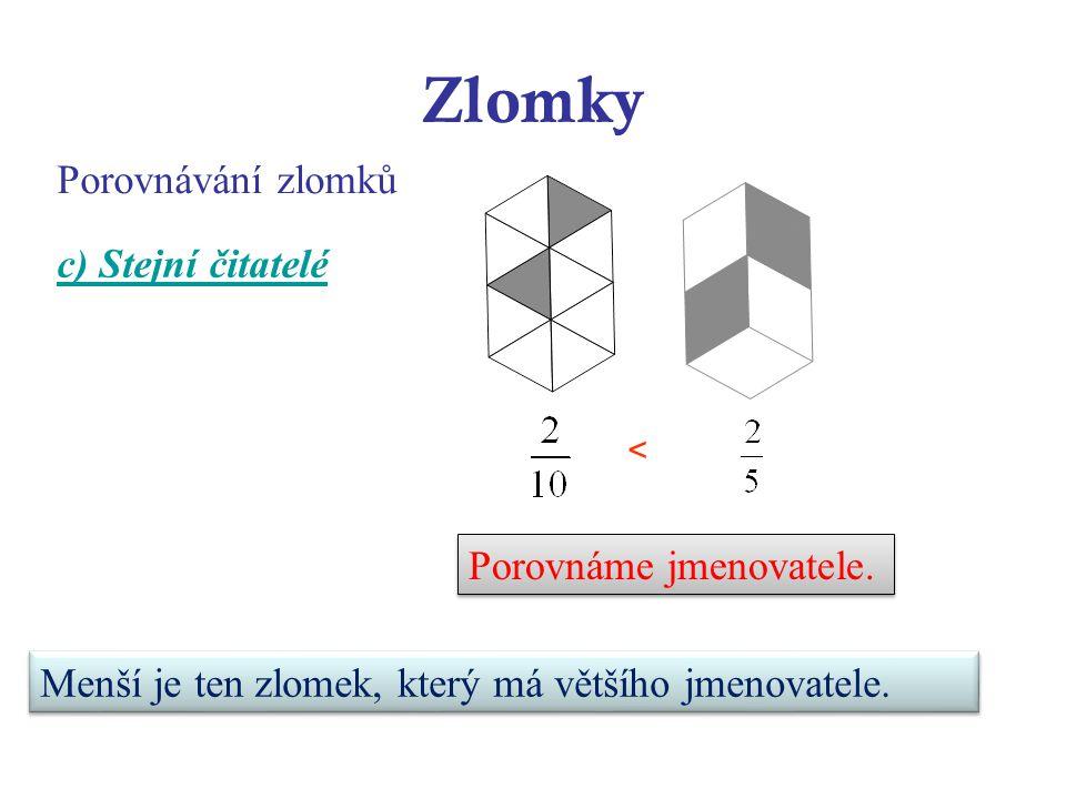 Zlomky Porovnávání zlomků c) Stejní čitatelé Porovnáme jmenovatele.