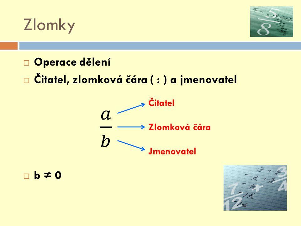 Zlomky 𝑎 𝑏 Operace dělení Čitatel, zlomková čára ( : ) a jmenovatel