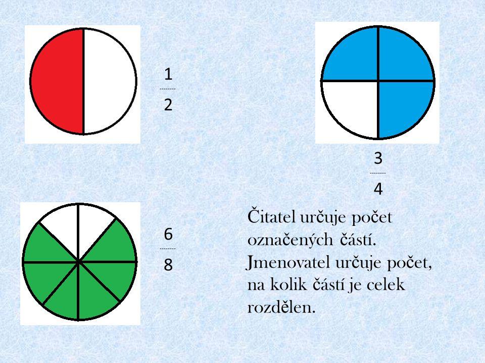 Čitatel určuje počet označených částí.