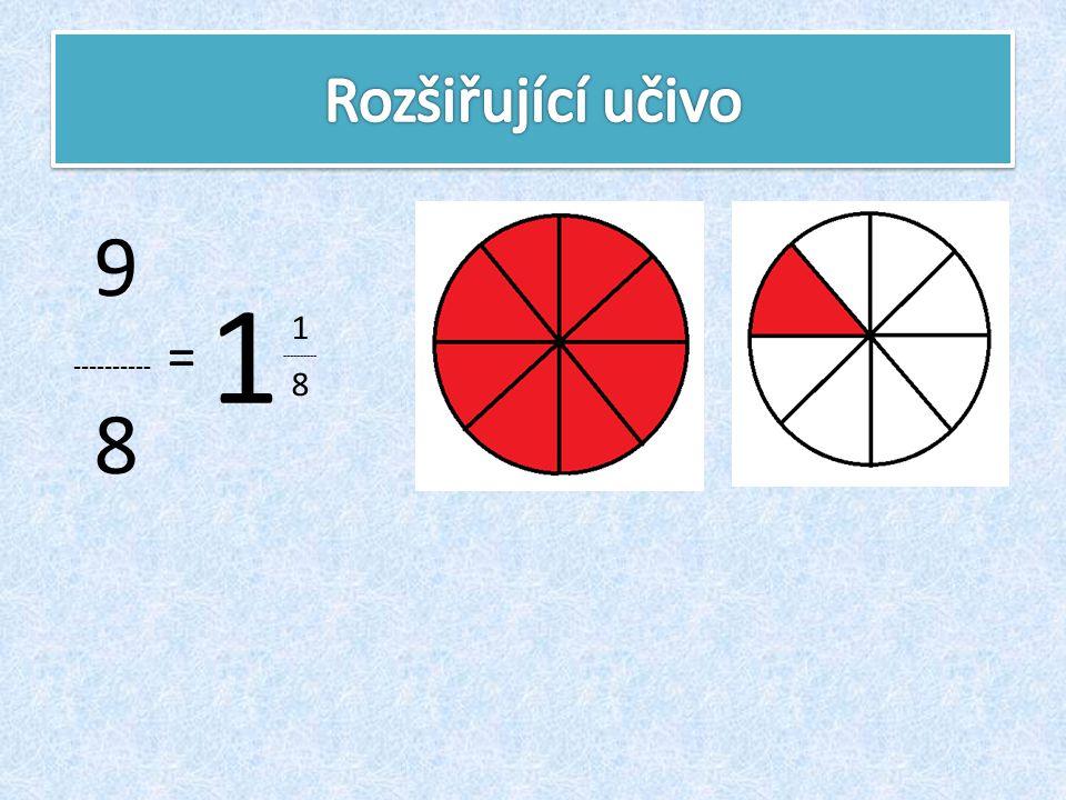 Rozšiřující učivo 9 ---------- = 8 1 1 ---------- 8