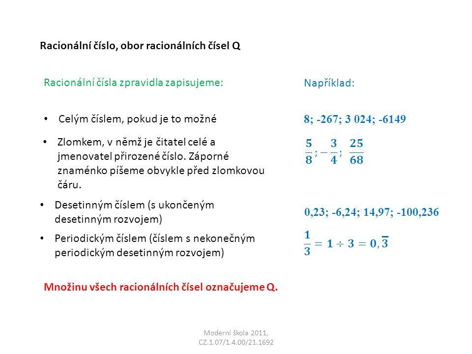 _ Racionální číslo, obor racionálních čísel Q