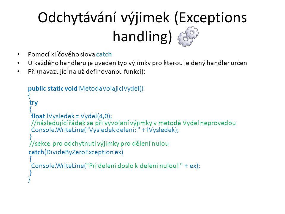 Odchytávání výjimek (Exceptions handling)