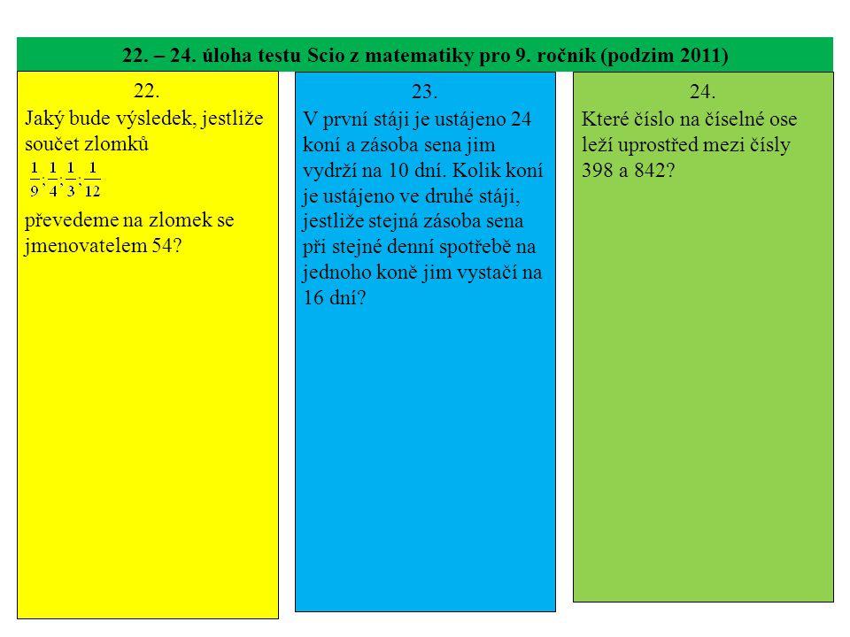 22. – 24. úloha testu Scio z matematiky pro 9. ročník (podzim 2011)