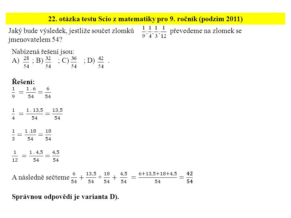22. otázka testu Scio z matematiky pro 9. ročník (podzim 2011)