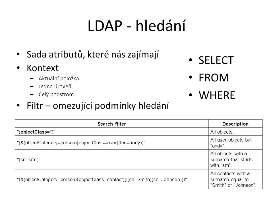 LDAP - hledání SELECT FROM WHERE Sada atributů, které nás zajímají