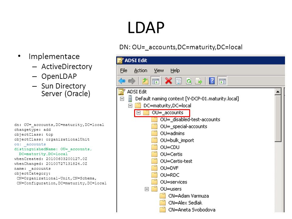 LDAP Implementace ActiveDirectory OpenLDAP