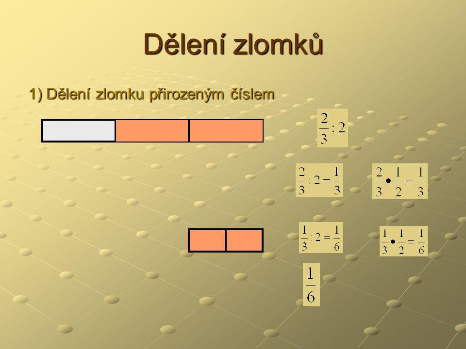 Dělení zlomků 1) Dělení zlomku přirozeným číslem