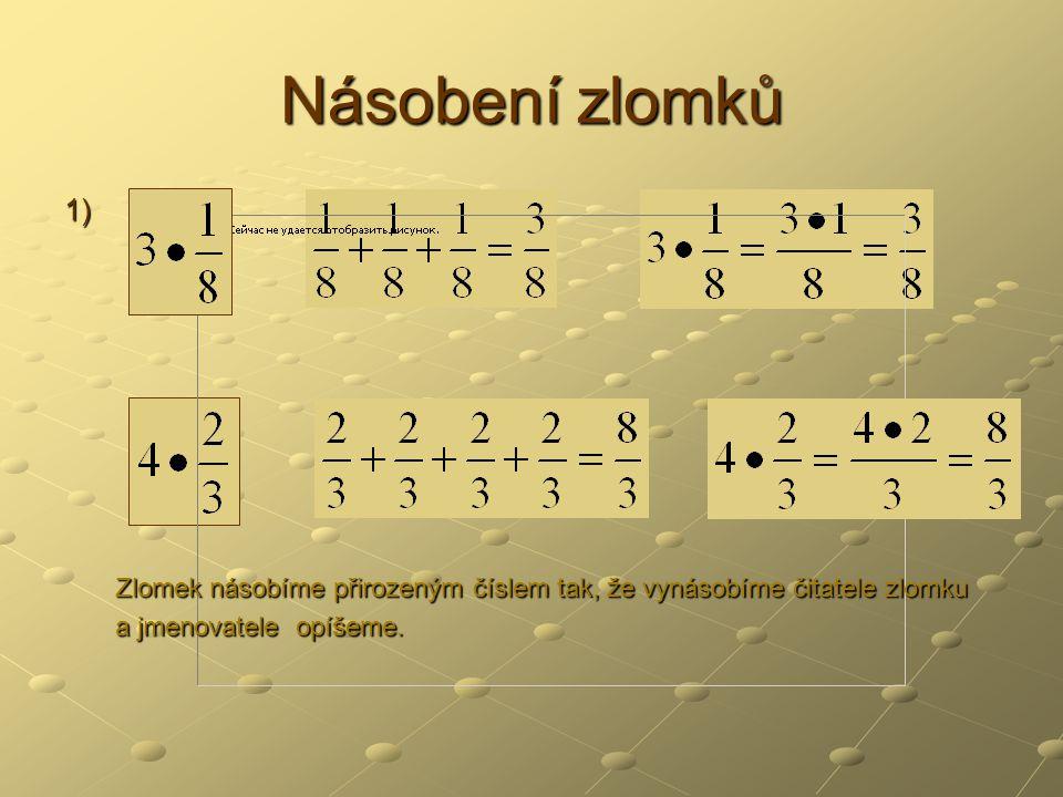 Násobení zlomků 1) Zlomek násobíme přirozeným číslem tak, že vynásobíme čitatele zlomku.
