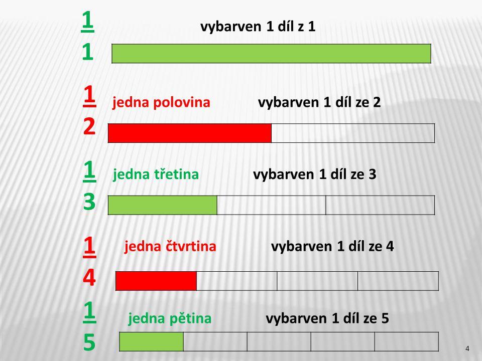 1 vybarven 1 díl z 1. 1. 2. jedna polovina vybarven 1 díl ze 2. 1. 3. jedna třetina vybarven 1 díl ze 3.