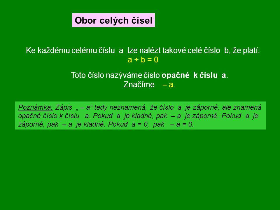 Obor celých čísel Ke každému celému číslu a lze nalézt takové celé číslo b, že platí: a + b = 0.