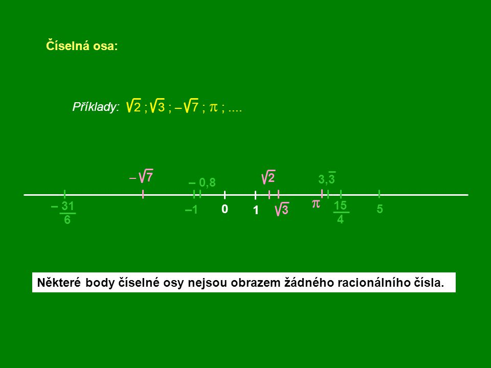 p Číselná osa: 2 ; 3 ; – 7 ; p ; .... Příklady: – 7 2 3,3 – 0,8 – 31