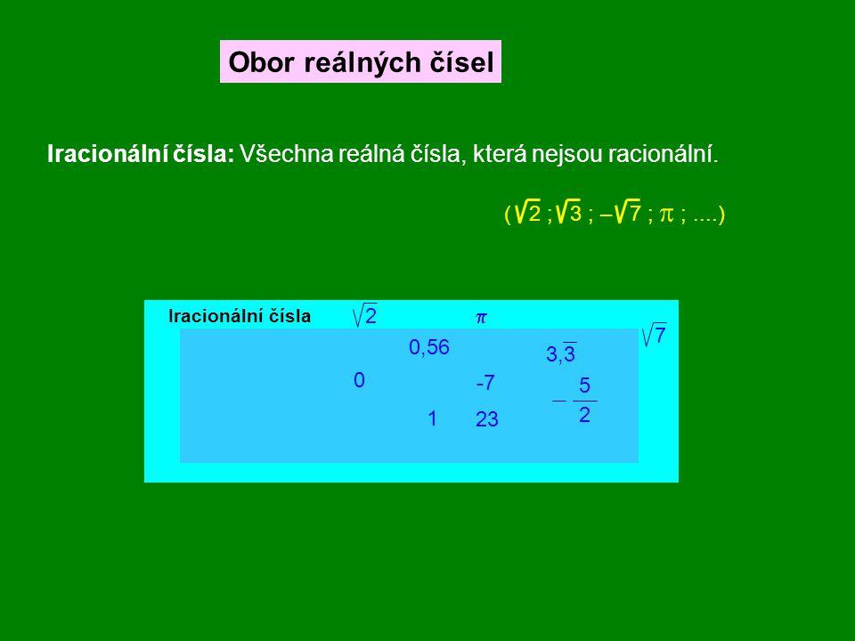 Obor reálných čísel Iracionální čísla: Všechna reálná čísla, která nejsou racionální. ( 2 ; 3 ; – 7 ; p ; ....)