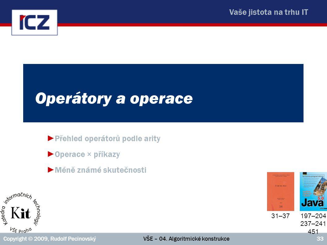 Přehled operátorů podle arity Operace × příkazy Méně známé skutečnosti