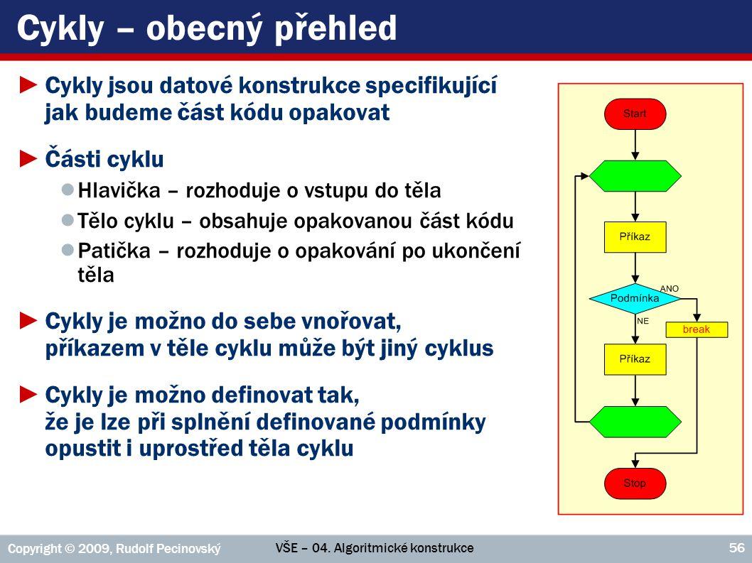 Cykly – obecný přehled Cykly jsou datové konstrukce specifikující jak budeme část kódu opakovat. Části cyklu.