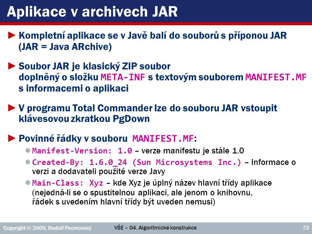Aplikace v archivech JAR