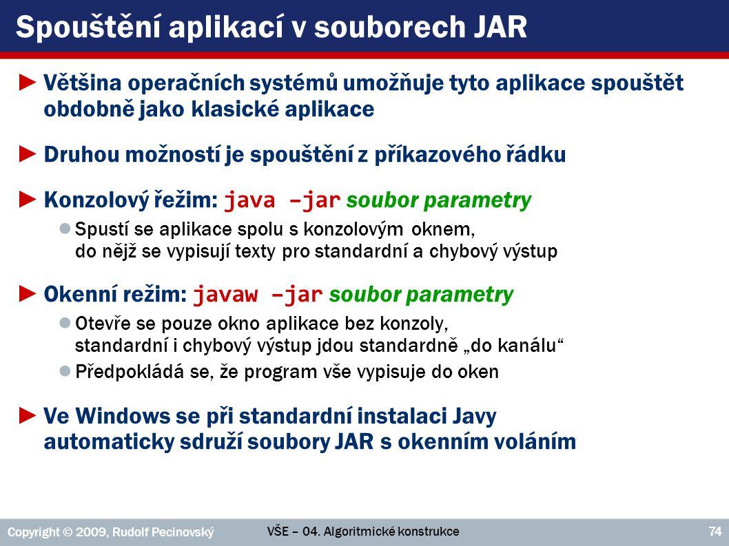 Spouštění aplikací v souborech JAR