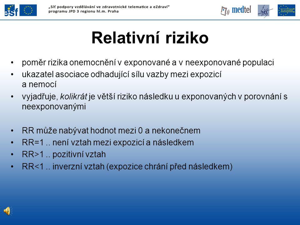 Relativní riziko poměr rizika onemocnění v exponované a v neexponované populaci. ukazatel asociace odhadující sílu vazby mezi expozicí a nemocí.