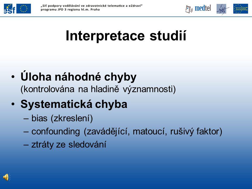 Interpretace studií Úloha náhodné chyby (kontrolována na hladině významnosti)